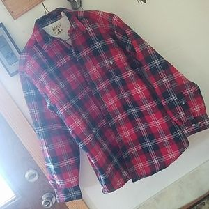 Mens fleece lined flannel button up